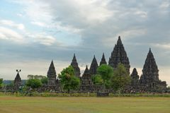 Prambanan Temple Compounds. Prambanan is a 9th-century Hindu temple compound in Central Java, Indonesia, dedicated to the Trimurti, the expression of God as the stock image