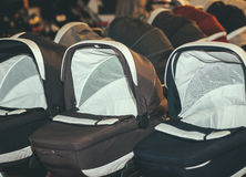 Prams strollers carriages for babies Stock Image