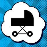 Pramzeichenillustration Vektor Schwarze Ikone in der Blase auf blauem Knall Stockfoto