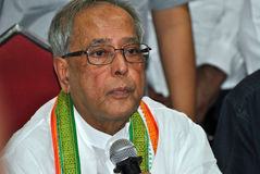 Pranab Mukherjee Speaks to Media Royalty Free Stock Photo