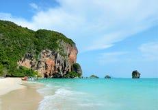 Pranang cave beach. Tropical landscape in Krabi, Thailand. Royalty Free Stock Photos