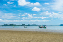Pranburi beach with fishing boat Royalty Free Stock Photos