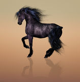 Prance. Beautiful Illustrated horse with a gorgeous mane and tail in a serene surrounding royalty free illustration