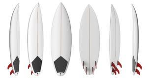 Prancha curto vazia de Shortboard com aletas vermelhas Imagem de Stock Royalty Free