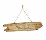 Placa de madeira do sinal da madeira lançada costa na corda Fotografia de Stock Royalty Free