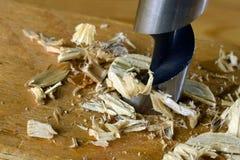 Prancha de madeira da perfuração com bocado de broca de madeira Imagem de Stock