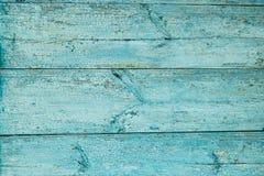 Prancha de madeira resistida velha pintada no azul Fotos de Stock