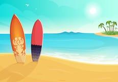 Prancha em cores diferentes Praia do mar e da areia Ilustração do fundo do verão do vetor ilustração stock
