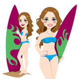 Menina nova do surfista Imagens de Stock Royalty Free
