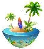 Prancha na ilha tropical Praia do paraíso das palmeiras, do mar, do sol e da areia ilustração royalty free