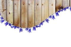 Pranchas de madeira e beira azul das flores Fotografia de Stock