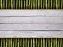 Pranchas de madeira no fundo de bambu Fotos de Stock Royalty Free
