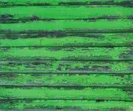 Pranchas de madeira resistidas velhas pintadas no verde Fotografia de Stock Royalty Free