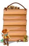 Pranchas de madeira vazias com um vaqueiro Imagem de Stock