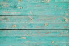 Pranchas de madeira velhas com pintura azul rachada Foto de Stock Royalty Free