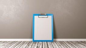 Prancheta azul com papel vazio contra a parede Imagem de Stock Royalty Free