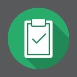 Prancheta com ícone liso da marca de verificação Botão colorido redondo, sinal circular do vetor com efeito de sombra longo ilustração stock