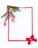 Prancheta com decoração do Natal imagem de stock