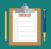Prancheta com formulário vazio da lista de verificação, ilustração stock