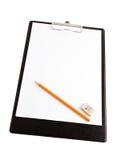 Prancheta com lápis e borracha Imagem de Stock