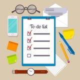 Prancheta com lista de afazeres Imagem de Stock