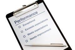 Prancheta da avaliação de desempenho Fotografia de Stock Royalty Free