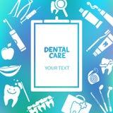 Prancheta médica com texto dos cuidados dentários Fotos de Stock