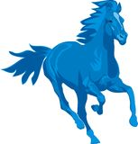 Prancing blue horse Stock Photo