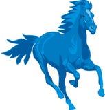 Prancing blue horse. Vector illustration. The silhouette of the prancing blue horse Stock Photo