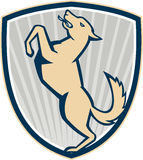 Prancing Dog Side Shield Royalty Free Stock Image