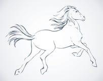 Άλογο Prancing ανασκόπηση που σύρει το floral διάνυσμα χλόης Στοκ Εικόνες