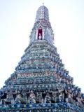 The prang. The beautifully decorated Prang in Wat Arun , Bangkok , Thailand Stock Photo