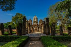 Prang Pagoda in world heritage site Sukhothai historical park Stock Photos