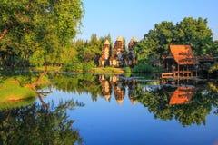 Prang Sam Yod, Lop Buri en Tailandia antigua, Samutparkan, Tailandia Imágenes de archivo libres de regalías