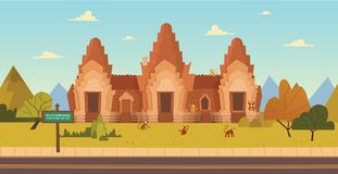 Phra Prang Sam Yot, ancient architecture in Lopburi, Thailand. Vector illustration Stock Photo