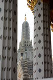 The prang seen from the ordination hall. Wat Arun. Bangkok. Thailand Stock Photos