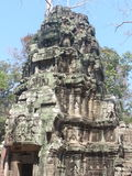 Prang. The prang is the tall finger-like spire, usually richly carved, common to much Khmer religious architecture Stock Photo