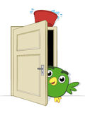 Prank being played on a cute little bird. Prank being played on a cute little cartoon bird peering cautiously round the edge of an open doorway on which is Royalty Free Stock Images