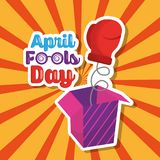 Prank box with glove april fools day retro background. Vector illustration Royalty Free Stock Images