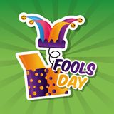 Prank box with jester hat fools day card. Vector illustration Stock Images