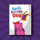 Prank box jester hat mouth springing out surprise april fools day. Vector illustration Stock Image