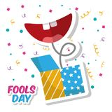 Prank box and smile mouth fools day confetti celebration. Vector illustration Royalty Free Stock Photography