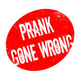 Prank Gone Wrong rubber stamp. Grunge design with dust scratches. Effects can be easily removed for a clean, crisp look. Color is easily changed Stock Image
