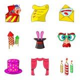 Prank icons set, cartoon style Stock Image