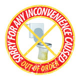 Prank Sticker Toilet Out Of Order Illustration Stock Photos