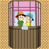 Pranks children on the balcony. Vector graphics Royalty Free Stock Photography