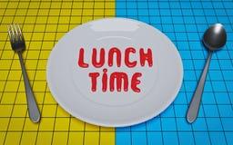 Pranza il testo di tempo salsa ketchup su un piatto bianco rappresentazione 3d illustrazione vettoriale