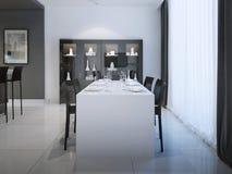 Pranzando alla progettazione minimalista della cucina Fotografia Stock Libera da Diritti