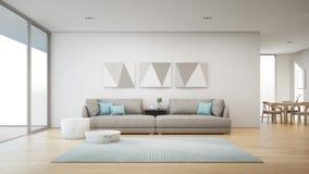 Pranzando e salone di nuova casa con il terrazzo di legno royalty illustrazione gratis