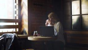 Pranzare della donna di affari irrompe la caffetteria stock footage